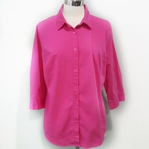 WORTHINGTON WOMAN Pink Button Up Blouse